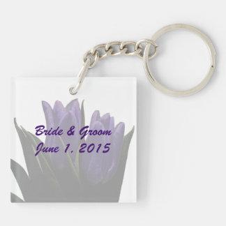 Purple Tulips Wedding Keychain