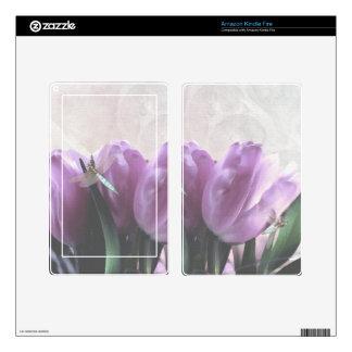 purple tulips with aqua dragonflies Skins Kindle Fire Decal