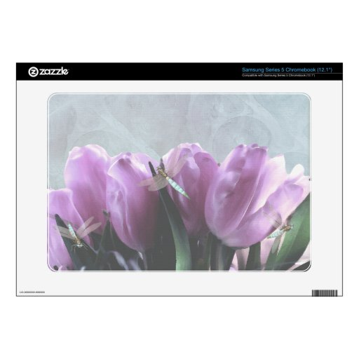 purple tulips with aqua dragonflies Skins Samsung Chromebook Decals