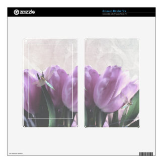 purple tulips with aqua dragonflies Skins Decals For Kindle Fire
