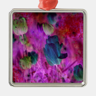 Purple tulips with Brush effect Metal Ornament