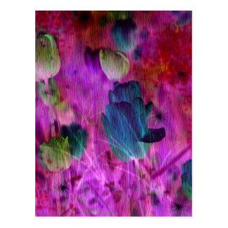 Purple tulips with Brush effect Postcard