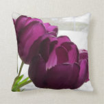 Purple Tulips With Snowy Back Round Pillows