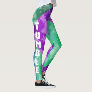 Purple Tumbling gymnastics design pattern leggings