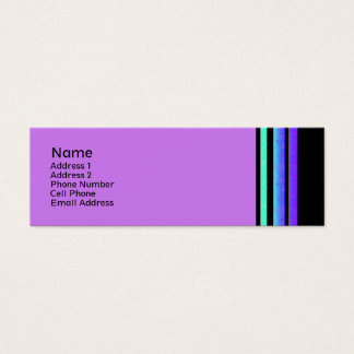 purple turqoise stripes mini business card