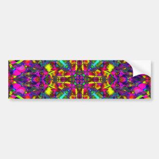 Purple Turquiose and Yellow Mandala Pattern Bumper Sticker