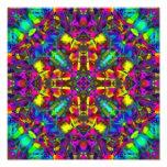 Purple Turquiose and Yellow Mandala Pattern Photo Print