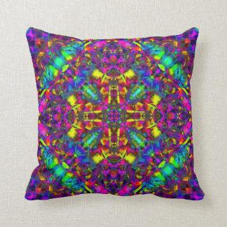 Purple Turquiose and Yellow Mandala Pattern Throw Pillow