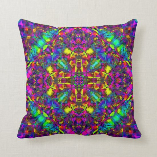 Purple Turquiose and Yellow Mandala Pattern Throw Pillow