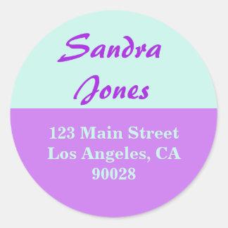 purple turquoise address label classic round sticker