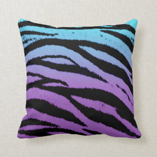 Purple Turquoise Black Tiger Striped Pillow