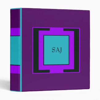 Purple & Turquoise Bold Monogram Vinyl Binder