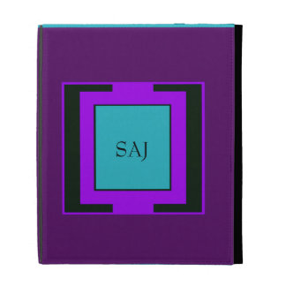 Purple & Turquoise Bold Monogram iPad Cases