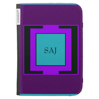 Purple & Turquoise Bold Monogram Kindle Folio Cases