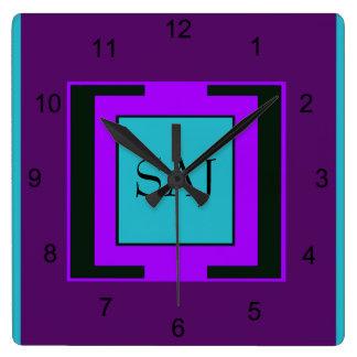 Purple & Turquoise Bold Monogram Square Wall Clock