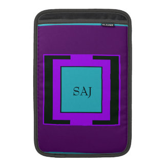 Purple & Turquoise Bold Monogram Sleeve For MacBook Air
