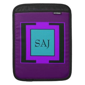 Purple & Turquoise Bold Monogram Sleeves For iPads