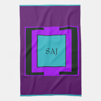 Purple & Turquoise Bold Monogram Hand Towel