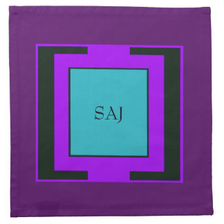 Purple & Turquoise Bold Monogram Printed Napkin