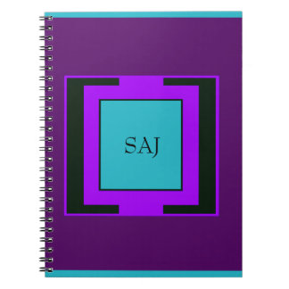 Purple & Turquoise Bold Monogram Notebooks