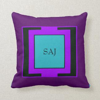Purple & Turquoise Bold Monogram Throw Pillow