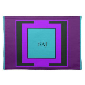 Purple & Turquoise Bold Monogram Placemat