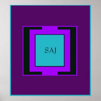 Purple & Turquoise Bold Monogram Posters