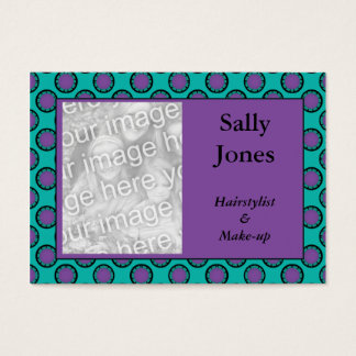 purple turquoise circles photo frame business card