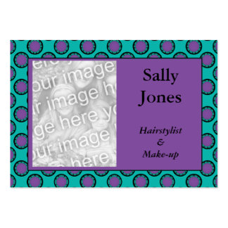 purple turquoise circles photo frame large business card