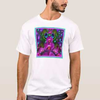 Purple-Turquoise Color Orchid Pattern Gifts T-Shirt