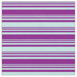 [ Thumbnail: Purple & Turquoise Colored Lined Pattern Fabric ]