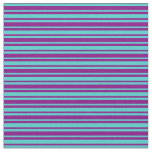 [ Thumbnail: Purple & Turquoise Colored Striped Pattern Fabric ]