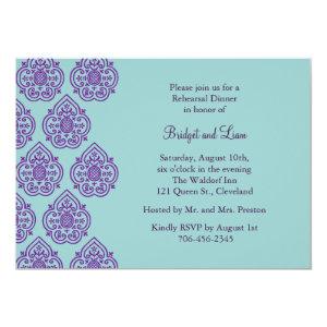 Purple/Turquoise Damask Rehearsal Dinner Invite 5