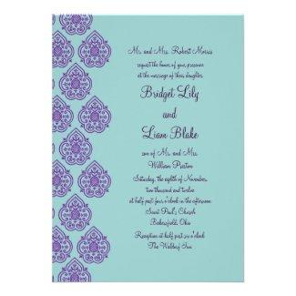 Purple/Turquoise Damask Wedding Invitation