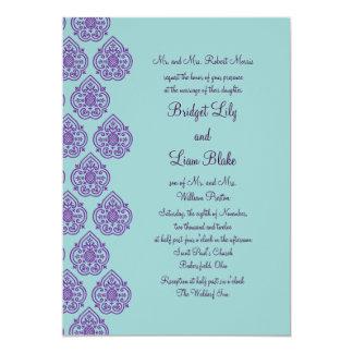 purpleturquoise damask wedding invitation - Purple And Turquoise Wedding Invitations