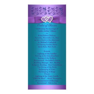 Purple, Turquoise Floral Hearts Wedding Program Rack Cards