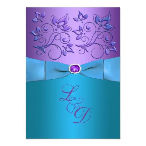 "Purple, Turquoise Floral Monogram Wedding Invite 5"" X 7"" Invitation Card"