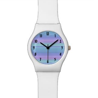 Purple Turquoise Green Blue Pastel Rainbow Watch