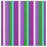 [ Thumbnail: Purple, Turquoise, Green, Orchid & Yellow Lines Fabric ]