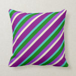 [ Thumbnail: Purple, Turquoise, Green, Orchid & Yellow Lines Throw Pillow ]