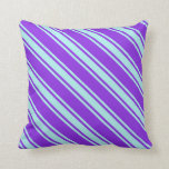 [ Thumbnail: Purple & Turquoise Lined/Striped Pattern Pillow ]