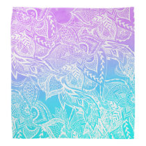 Purple turquoise mermaid watercolor floral lace bandana