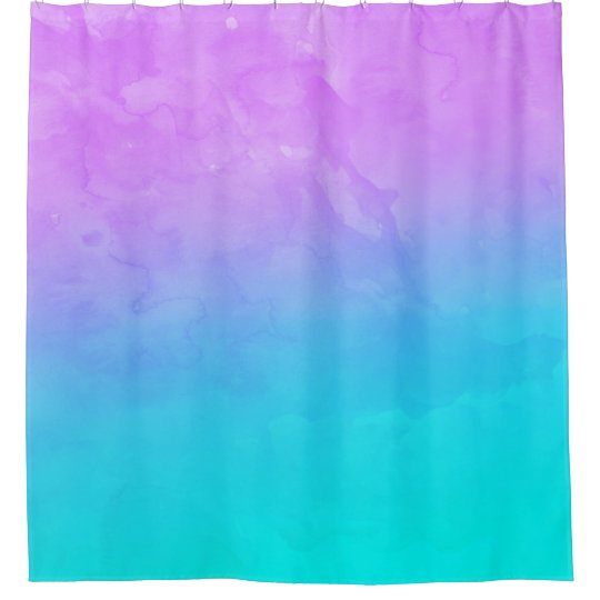 Purple Turquoise Mermaid Watercolor Ombre Paint Shower Curtain
