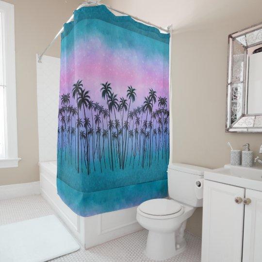 Purple Turquoise Palmtrees Shower Curtain