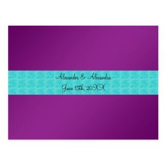 Purple turquoise roses wedding favors post cards