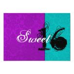 Purple & Turquoise Sweet Sixteen Invitations