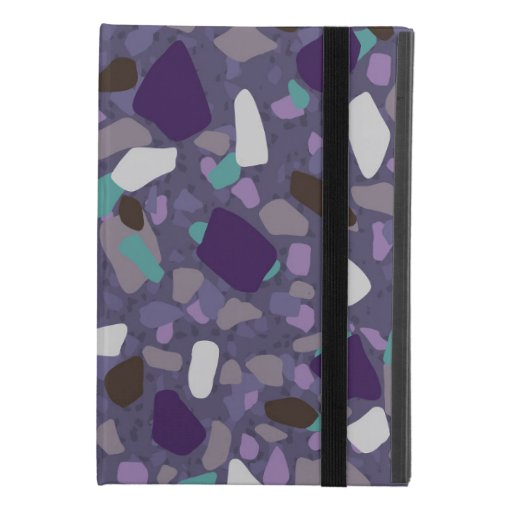 Purple turquoise terrazzo pattern iPad mini 4 case