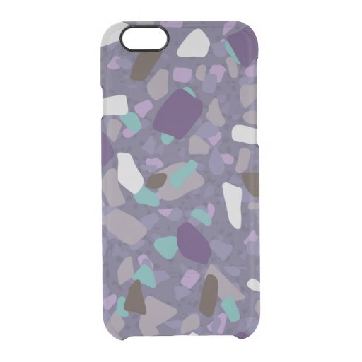 Purple turquoise terrazzo pattern clear iPhone 6/6S case