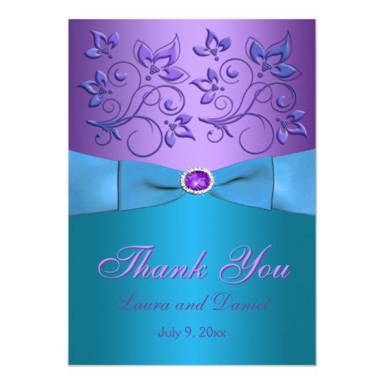 Purple Turquoise Thank You Card Invite Style