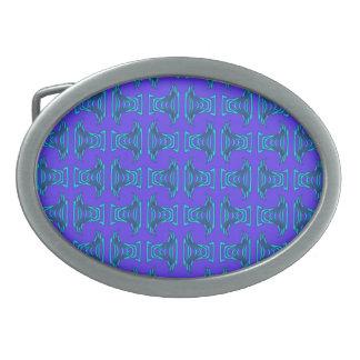 Purple Turquoise Tiki Pattern Belt Buckle